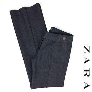 Zara Basic wide leg dark denim trousers size10